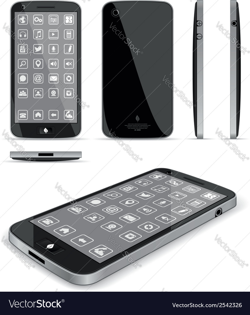 Black smart phone 3d and conventional views vector | Price: 1 Credit (USD $1)