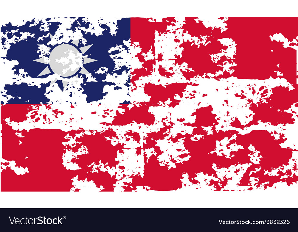 Flag of taiwan with old texture vector | Price: 1 Credit (USD $1)
