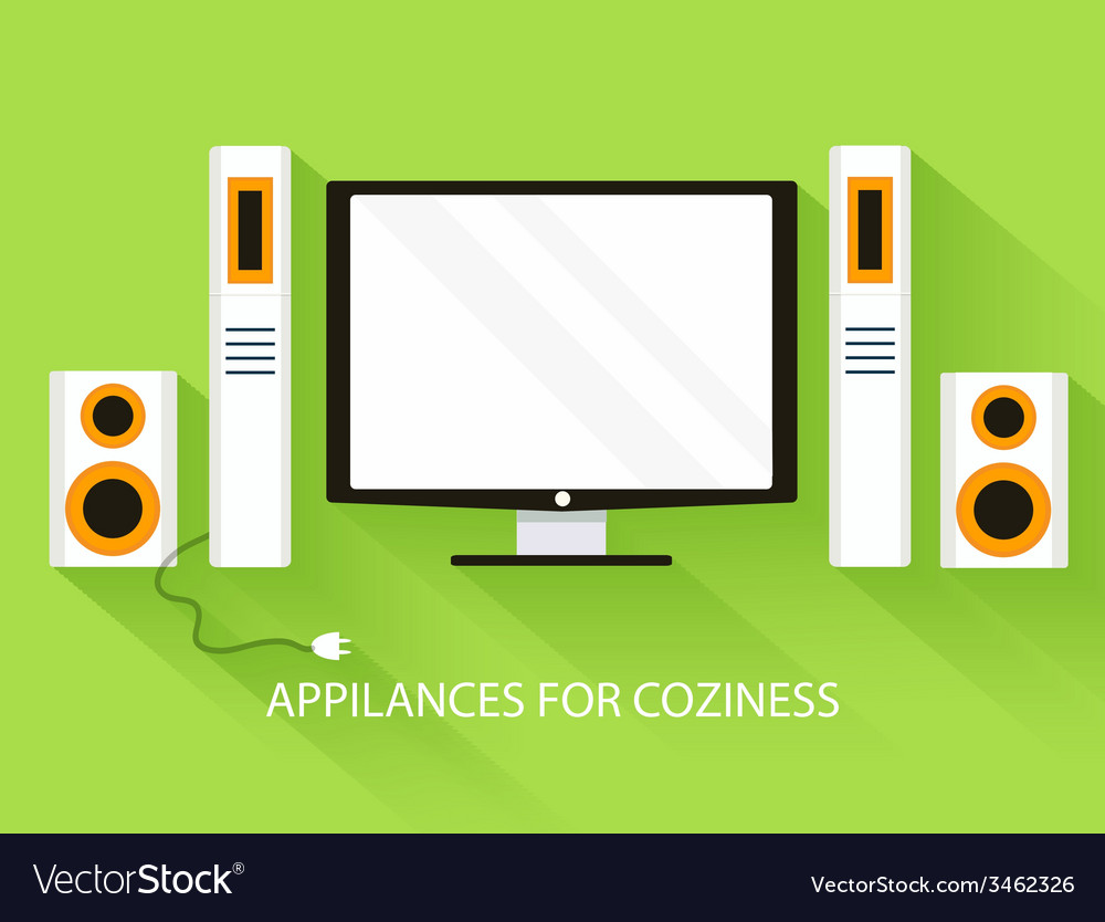 Flat media home theater background concept vector | Price: 1 Credit (USD $1)
