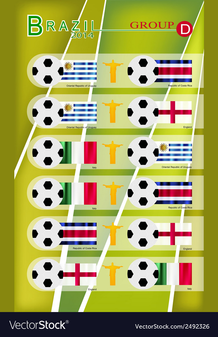 Football tournament of brazil 2014 group d vector | Price: 1 Credit (USD $1)