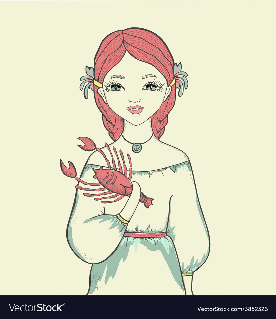 Girl with a fish astrological sign is cancer vector | Price: 1 Credit (USD $1)