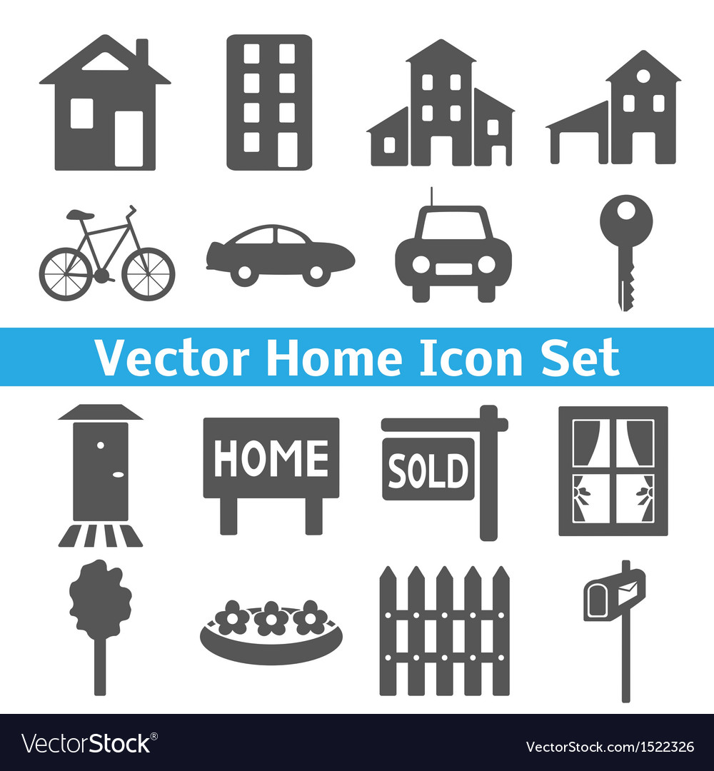 Home icons set real estate vector | Price: 1 Credit (USD $1)