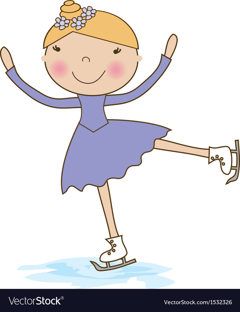 Little skater girl skating on ice vector | Price: 1 Credit (USD $1)