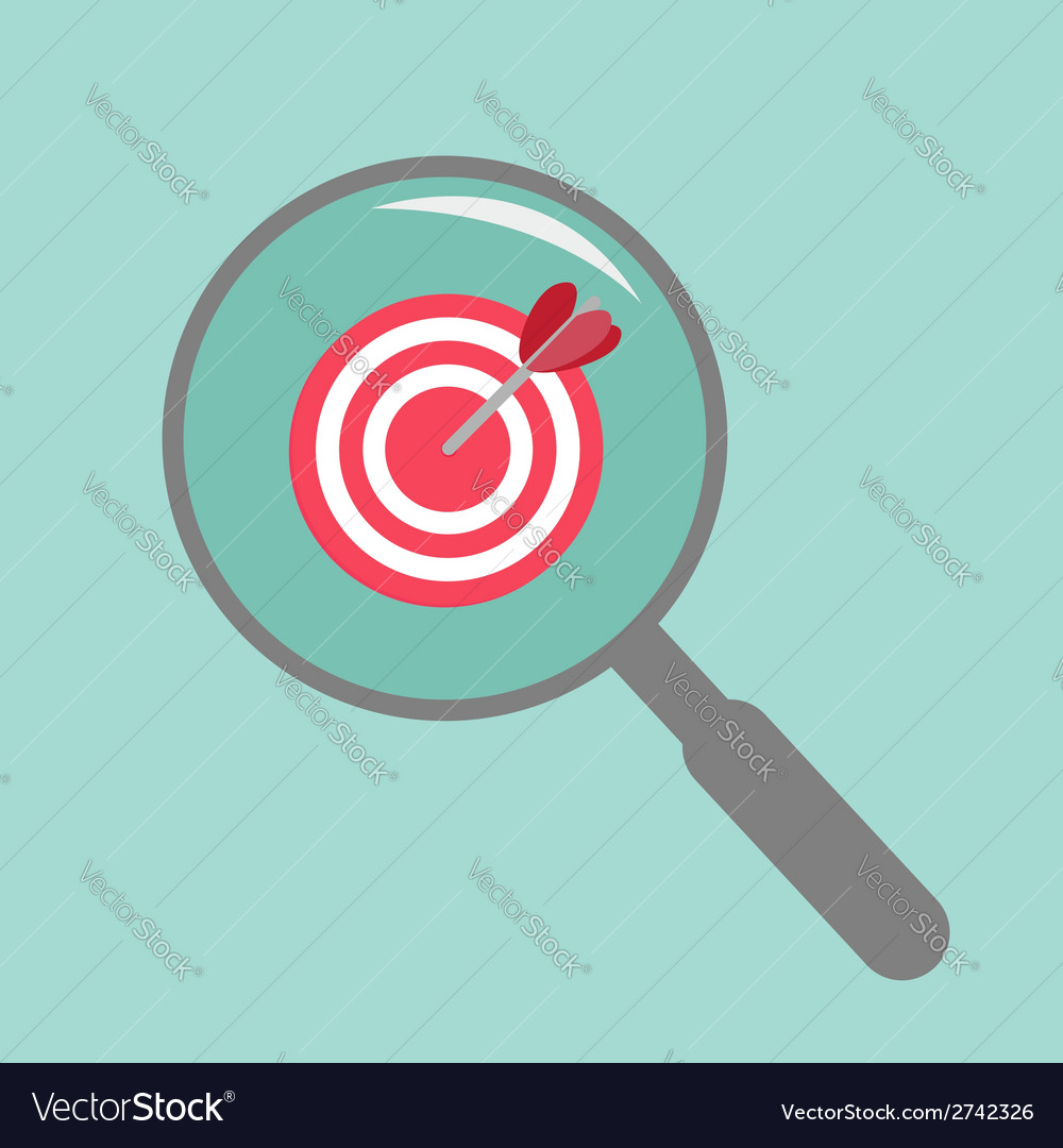 Magnifier and target flat design style vector | Price: 1 Credit (USD $1)