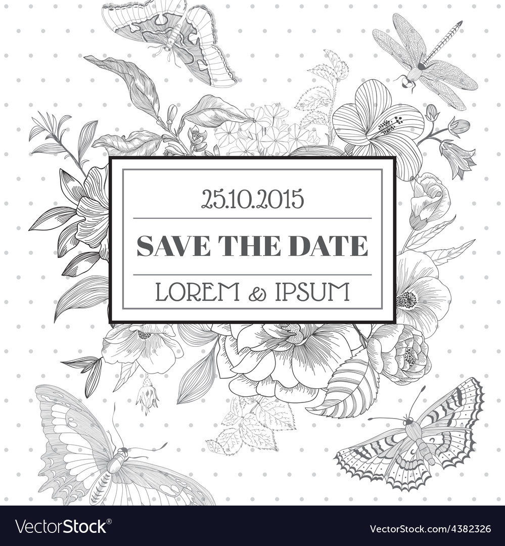 Save the date - floral shabby chic card vector | Price: 1 Credit (USD $1)