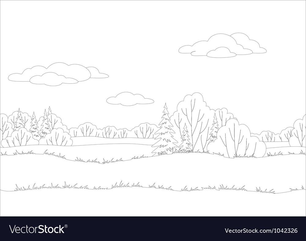 Seamless background woodland landscape contour vector | Price: 1 Credit (USD $1)