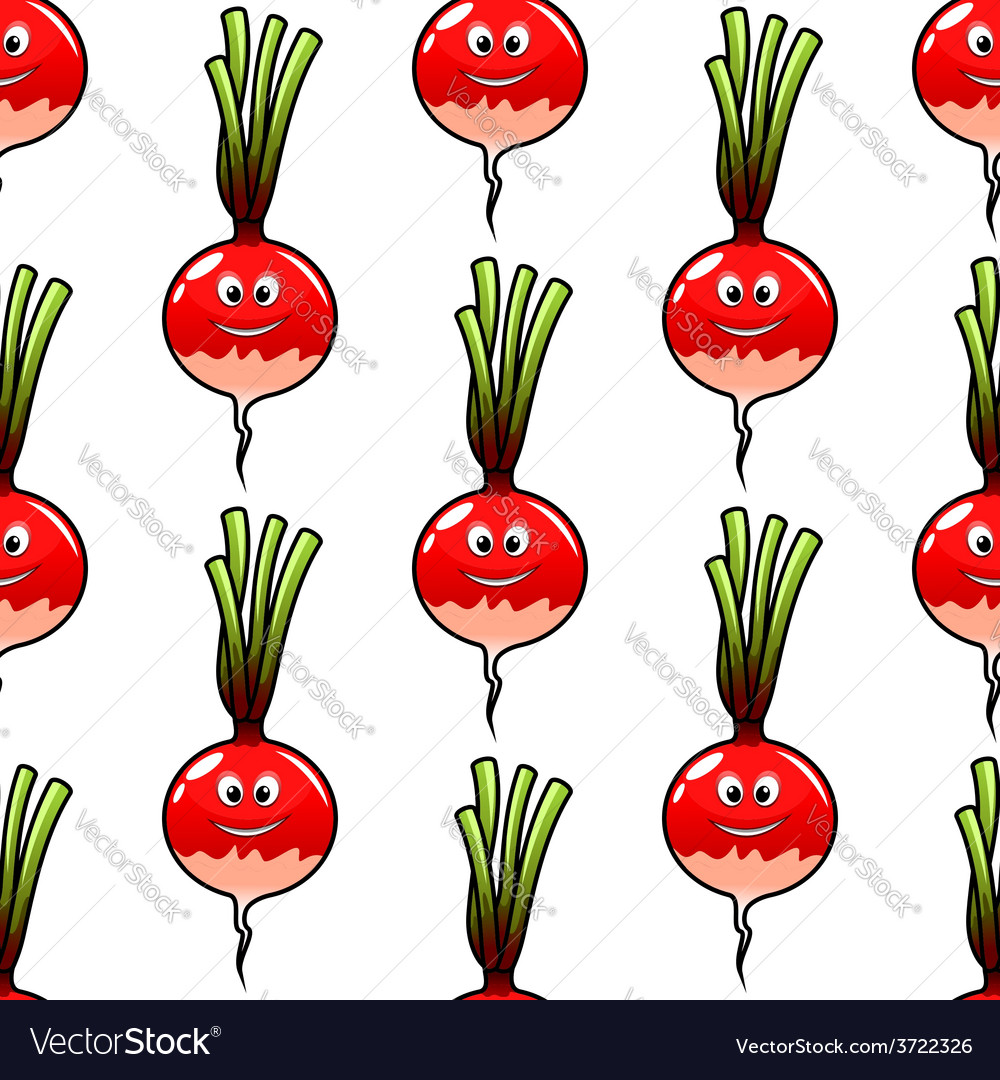 Seamless cartoon radish vegetable background vector | Price: 1 Credit (USD $1)