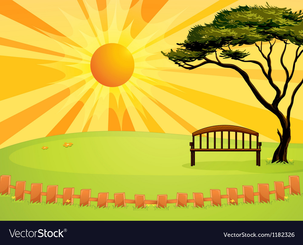 Sunny park bench vector | Price: 1 Credit (USD $1)