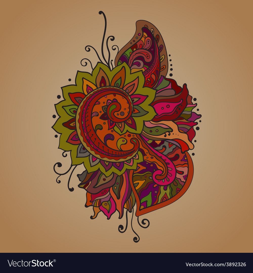 Traditional oriental floral ornament with a vector | Price: 1 Credit (USD $1)