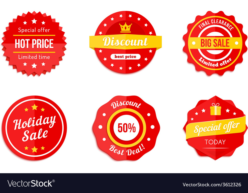 Various red discount sale tag icons vector | Price: 1 Credit (USD $1)