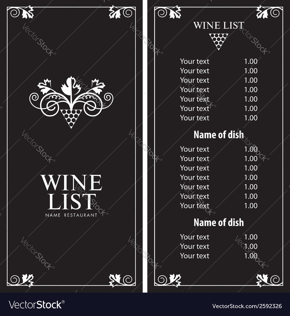 Wine list vector | Price: 1 Credit (USD $1)