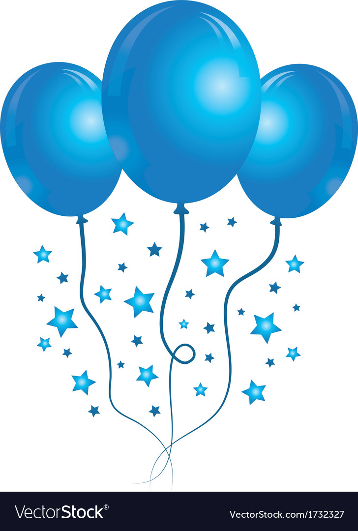 Blue balloons with stars vector | Price: 1 Credit (USD $1)