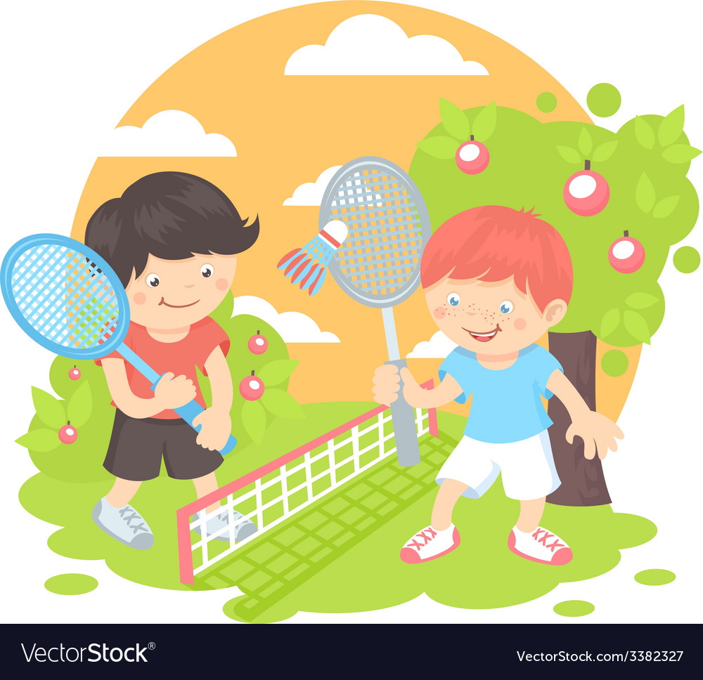 Boys playing badminton vector | Price: 1 Credit (USD $1)