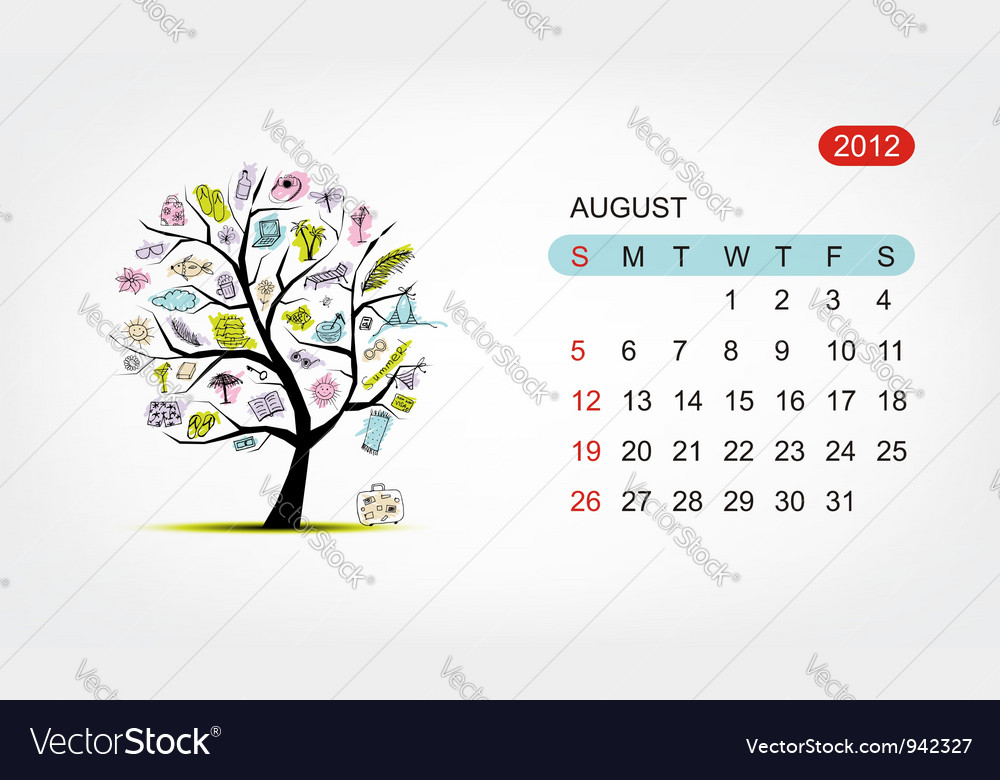 Calendar 2012 august art tree design vector | Price: 1 Credit (USD $1)