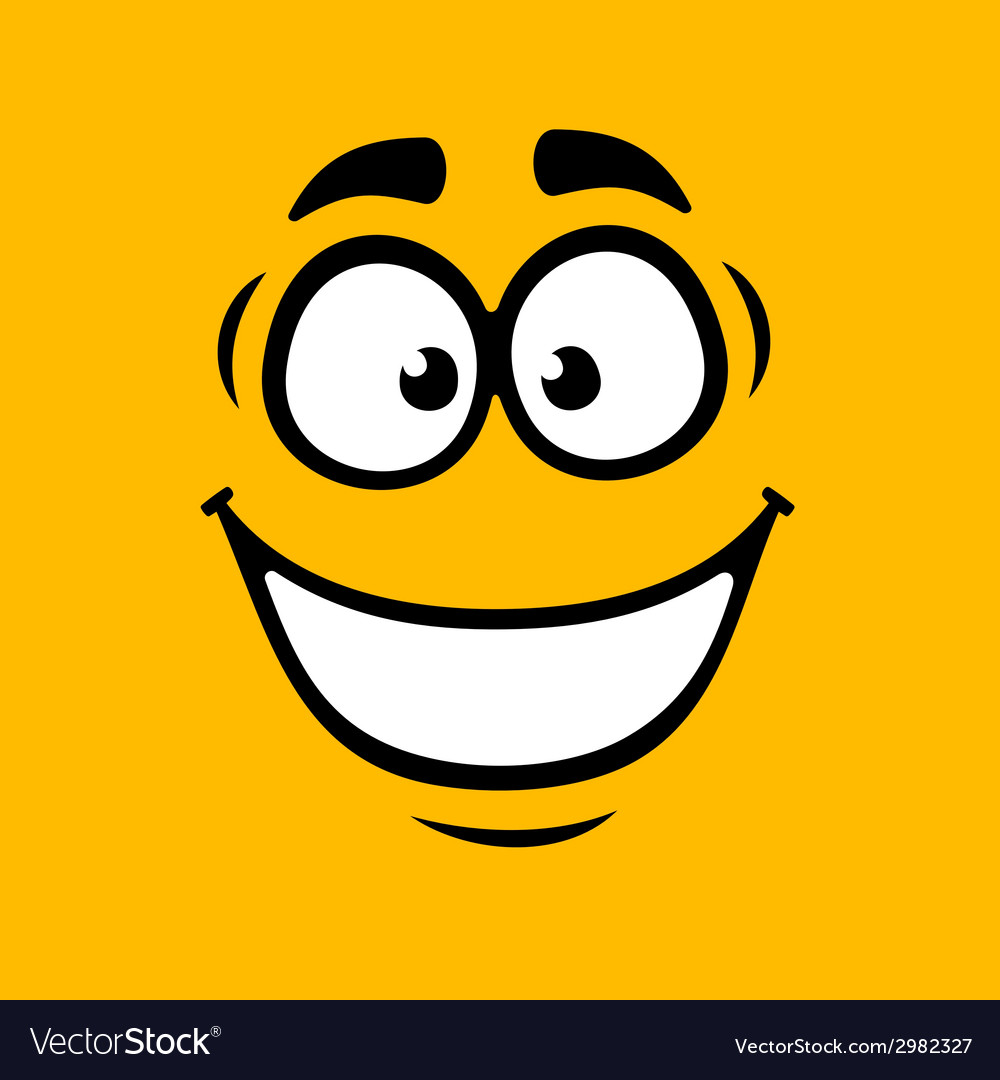 Cartoom smile on orange background vector | Price: 1 Credit (USD $1)