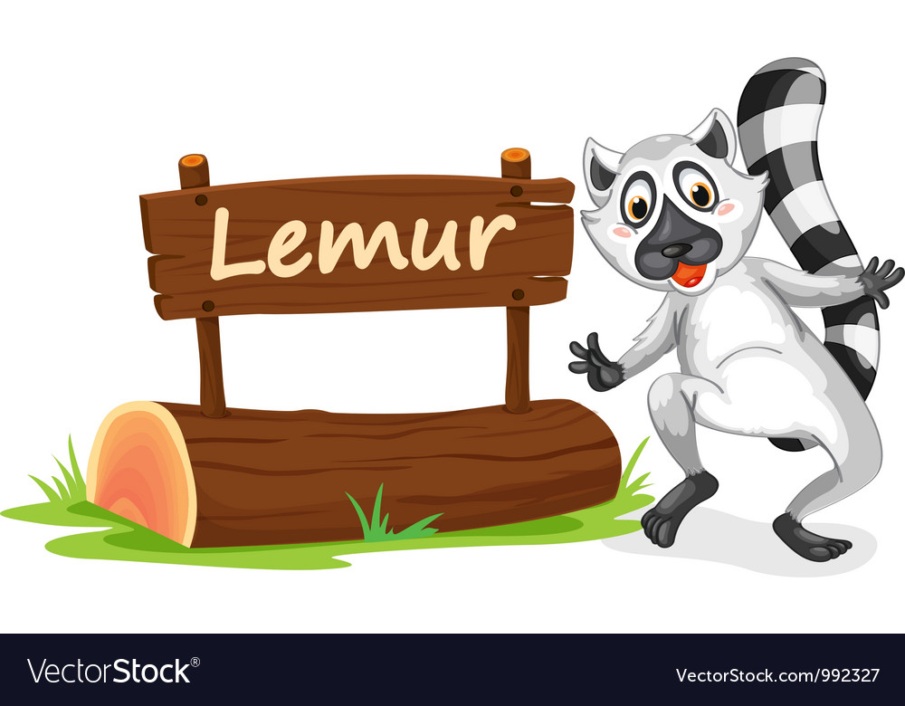 Cartoon zoo lemur sign vector | Price: 1 Credit (USD $1)