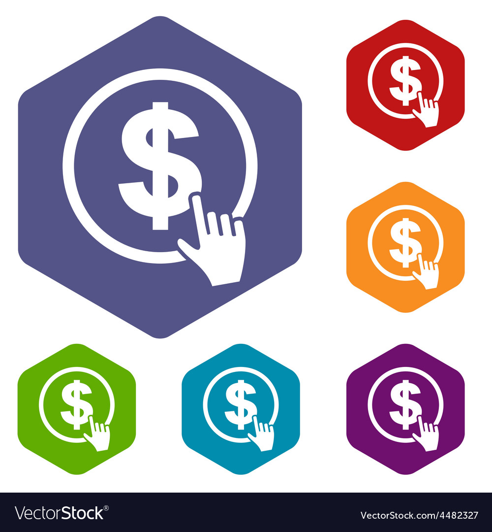 Dollar click rhombus icons vector | Price: 1 Credit (USD $1)