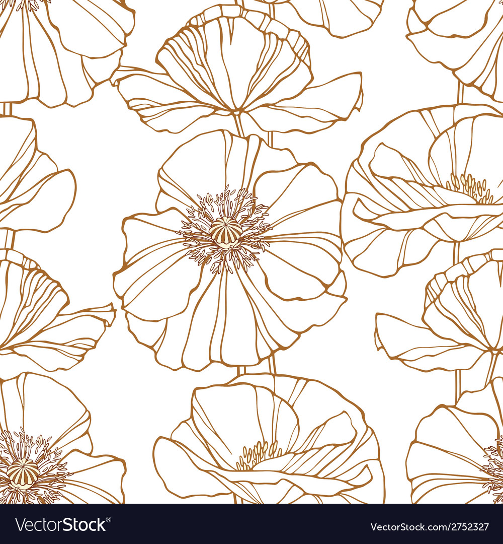 Floral seamless pattern with poppies vector | Price: 1 Credit (USD $1)