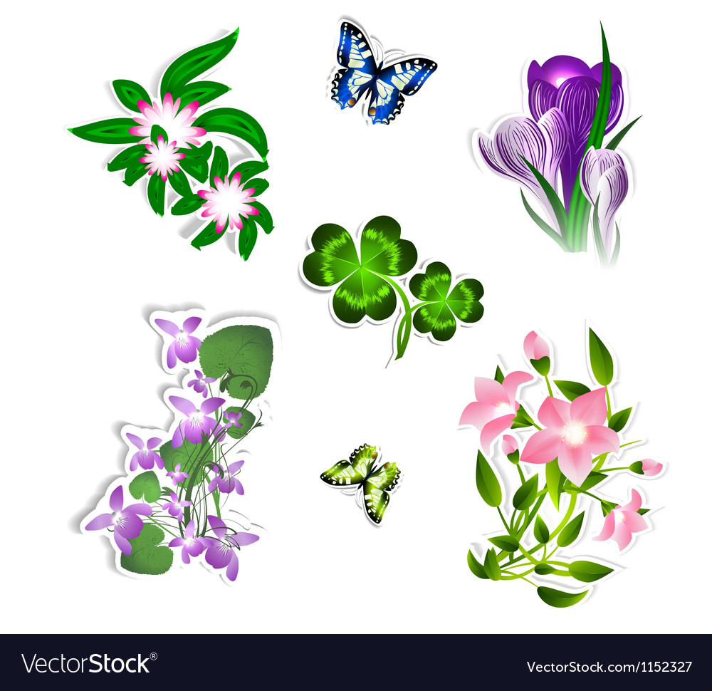 Flower set vector | Price: 1 Credit (USD $1)