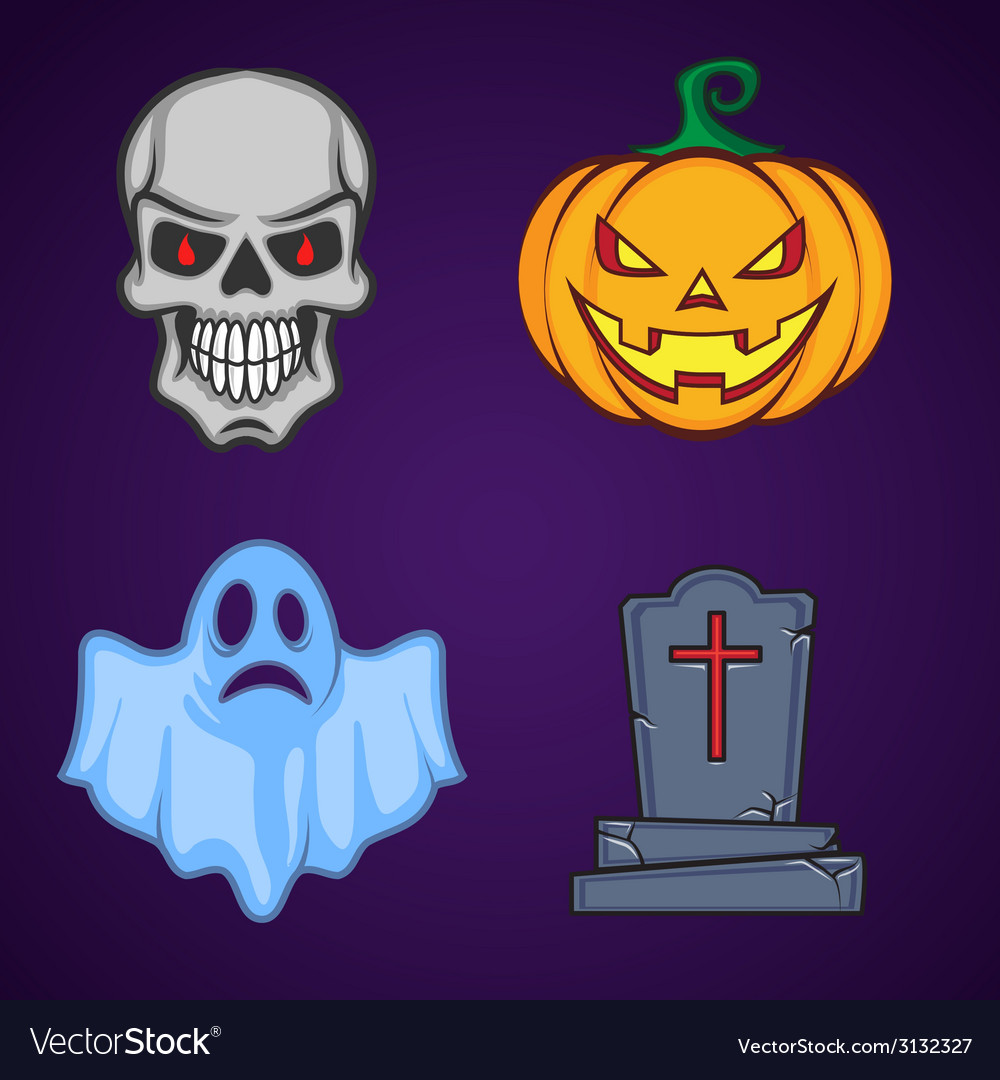 Halloween cartoon icon objects vector | Price: 1 Credit (USD $1)