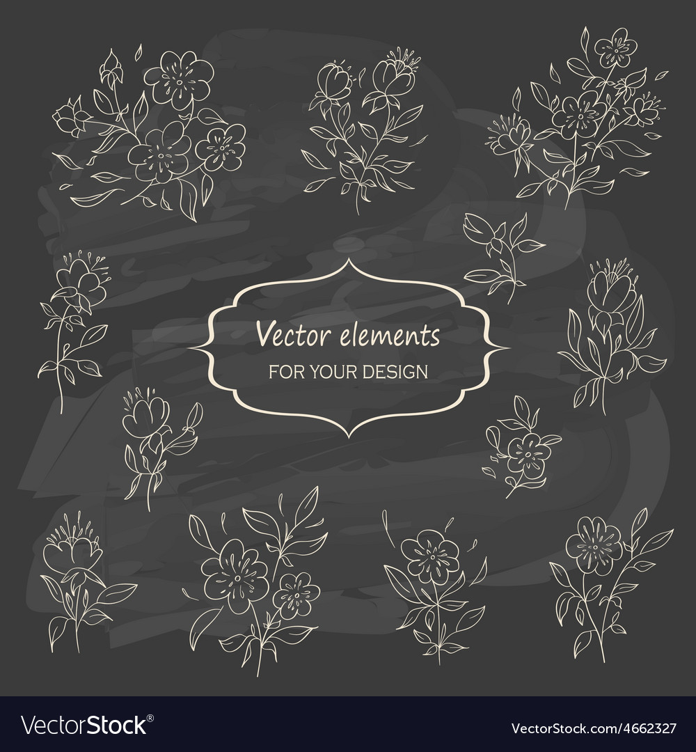 Hand sketched vintage floral elements vector | Price: 1 Credit (USD $1)