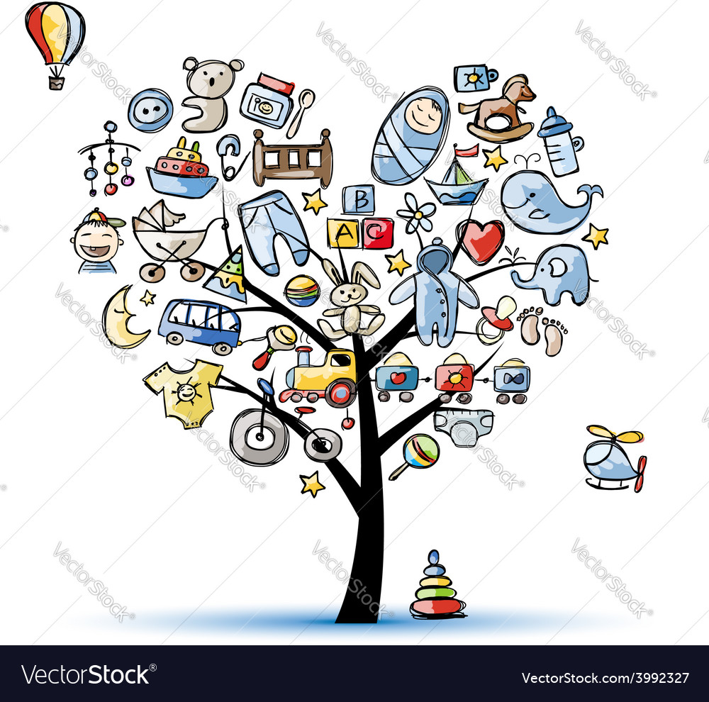 Heart shape tree with toys for baby boy vector | Price: 1 Credit (USD $1)