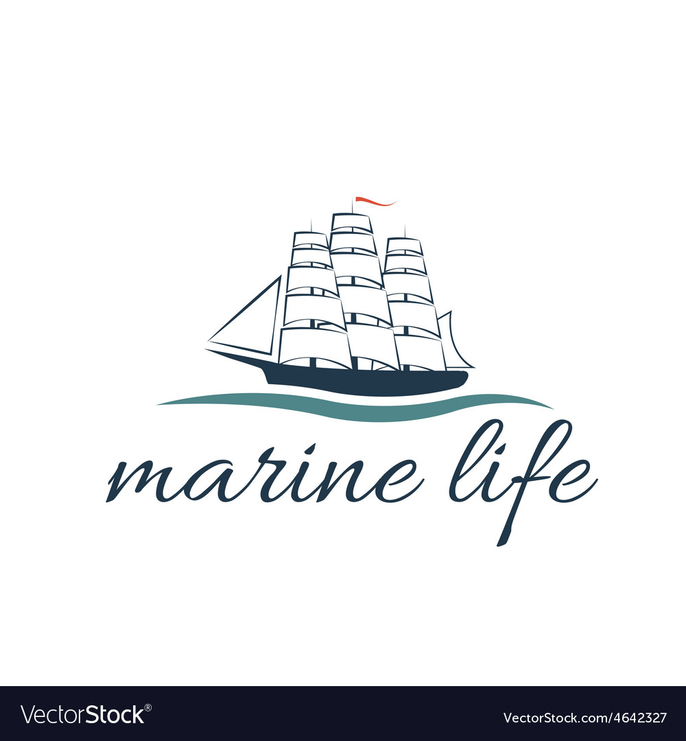 Marine life with frigate vector | Price: 1 Credit (USD $1)