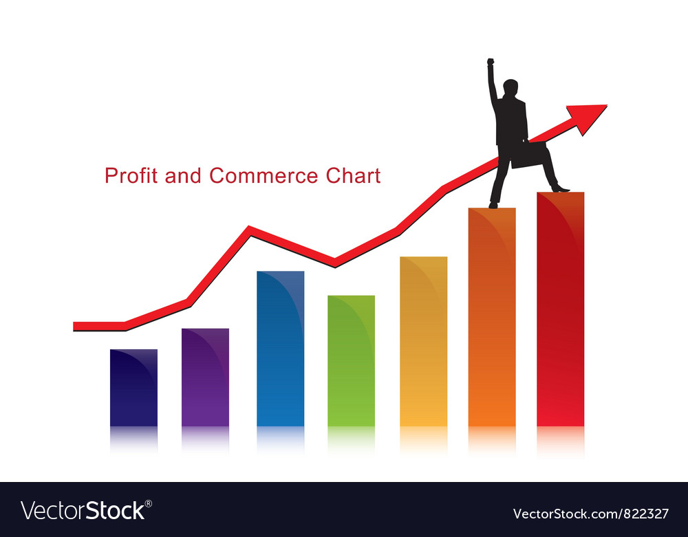 Profit and commerce chart with businessman vector | Price: 1 Credit (USD $1)