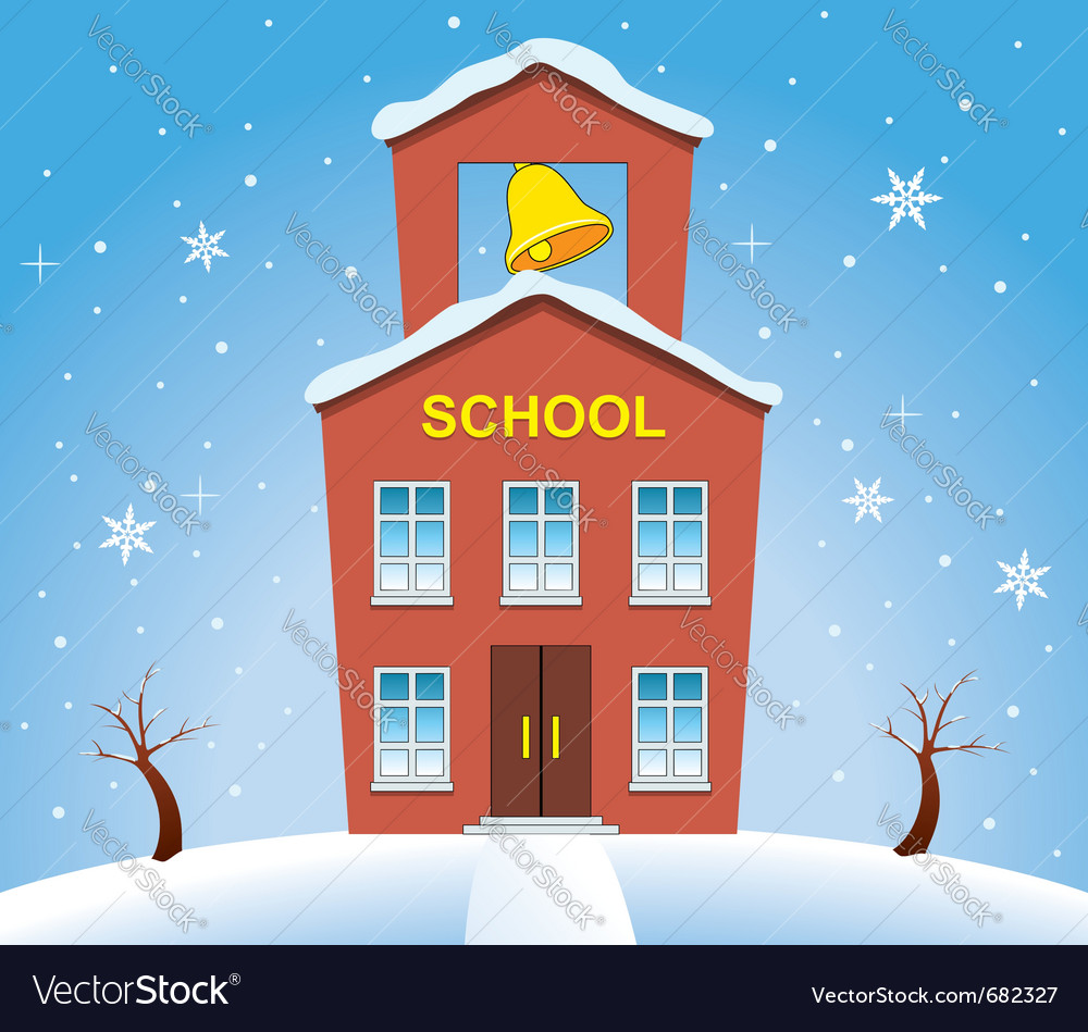 School house in winter vector | Price: 1 Credit (USD $1)