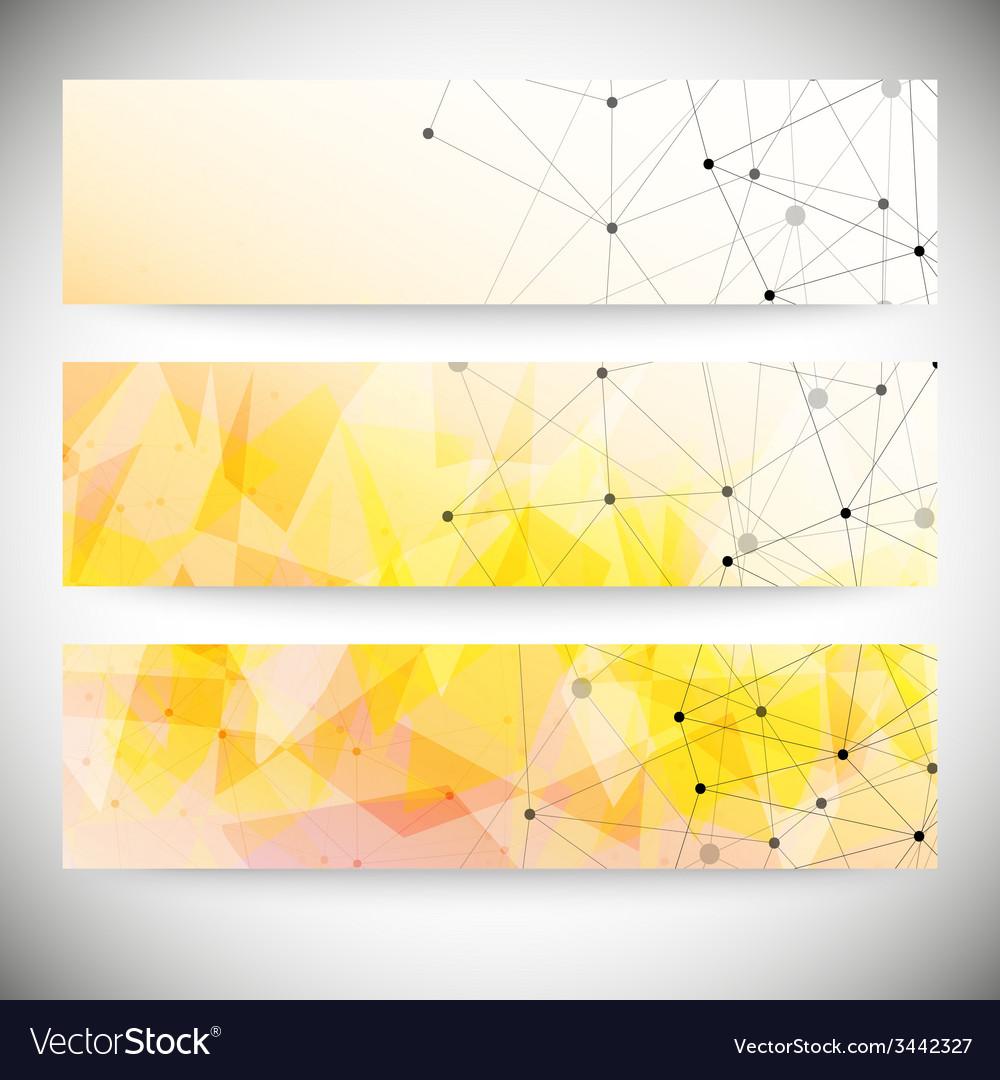 Set of horizontal banners orange triangle design vector | Price: 1 Credit (USD $1)