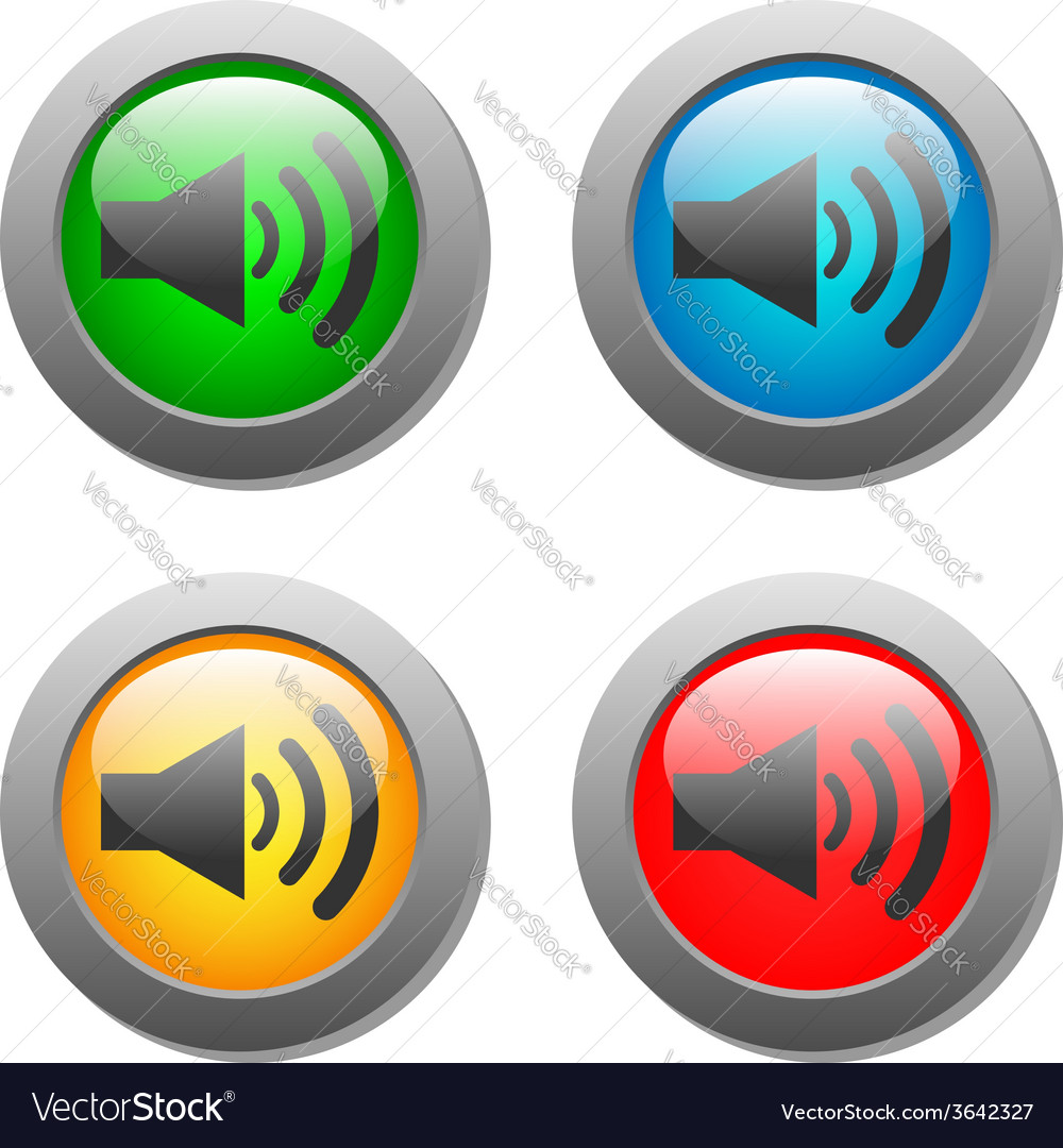 Speaker volume icon set on glass buttons vector | Price: 1 Credit (USD $1)
