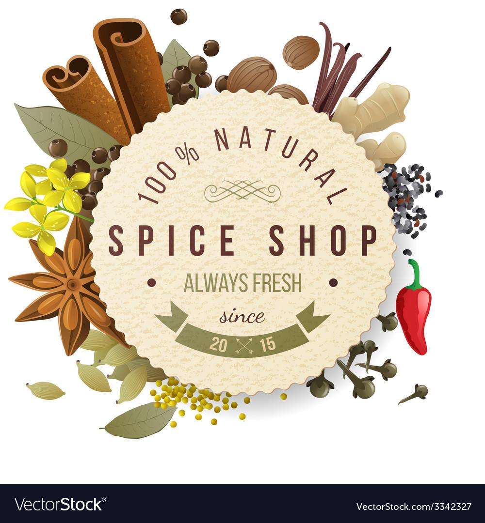 Spice shop emblem vector | Price: 3 Credit (USD $3)