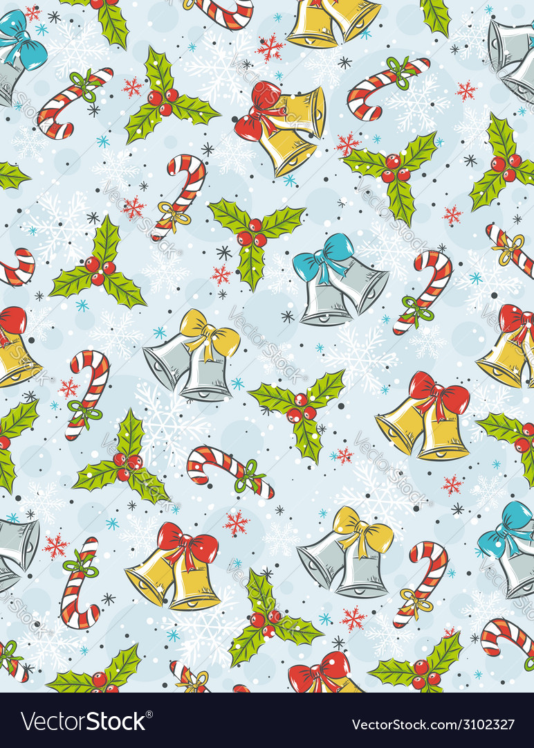 Wrapping paper with christmas elements vector | Price: 1 Credit (USD $1)