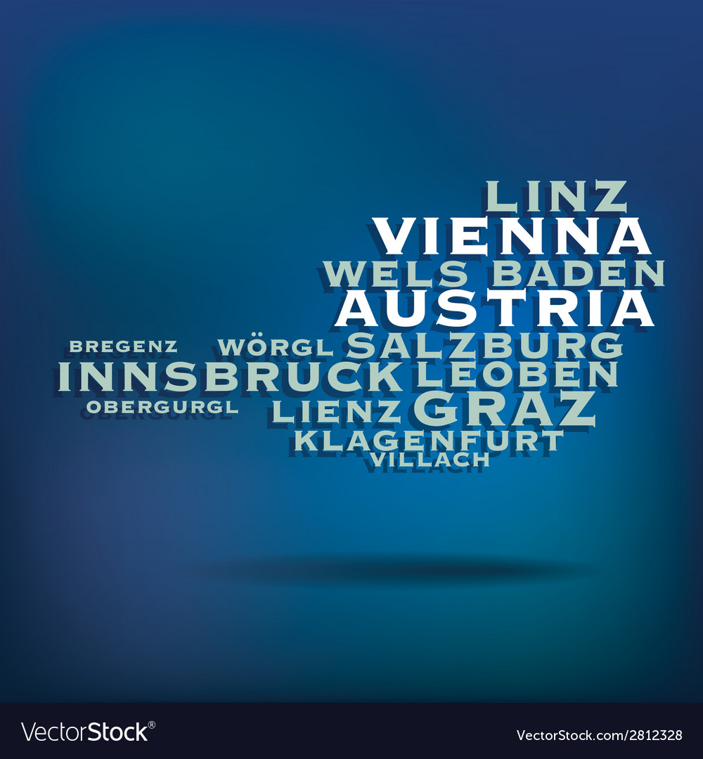 Austria map made with name of cities vector | Price: 1 Credit (USD $1)