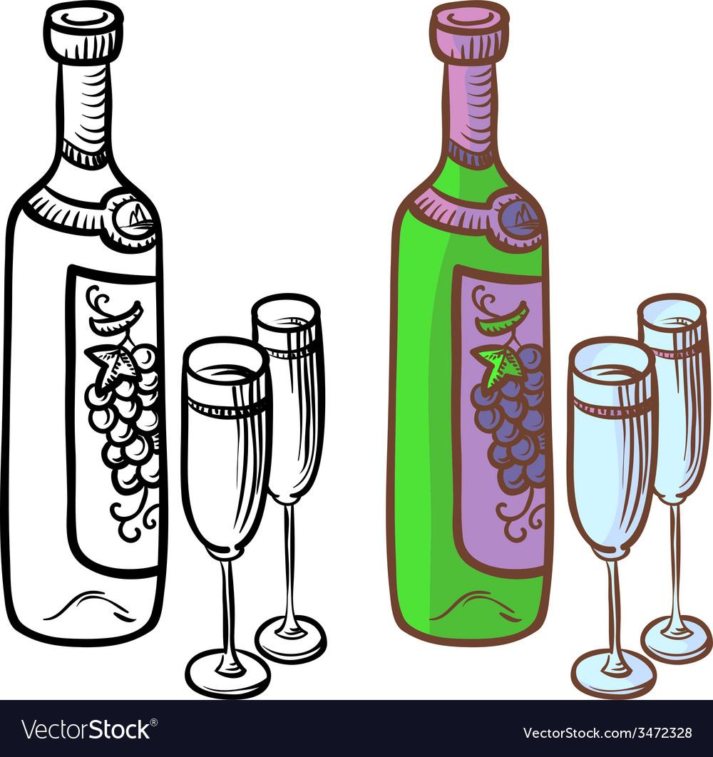 Bottle of vine vector   Price: 1 Credit (USD $1)