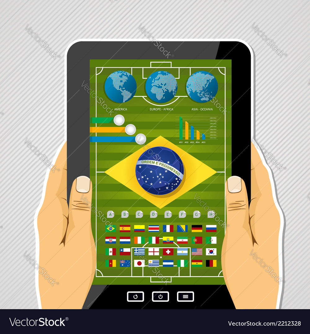 Brazil soccer championship tablet infographic vector | Price: 1 Credit (USD $1)