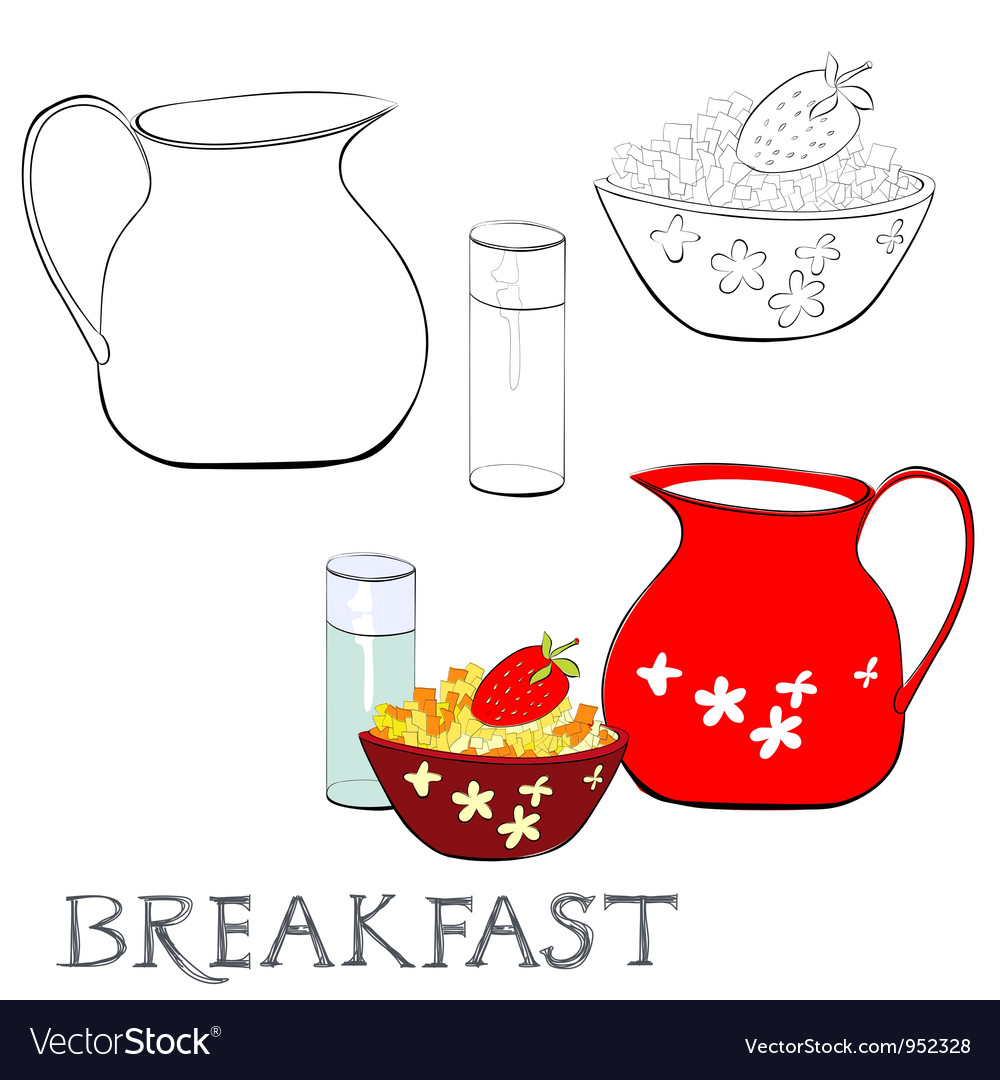 Breakfast with corn flakes vector | Price: 1 Credit (USD $1)