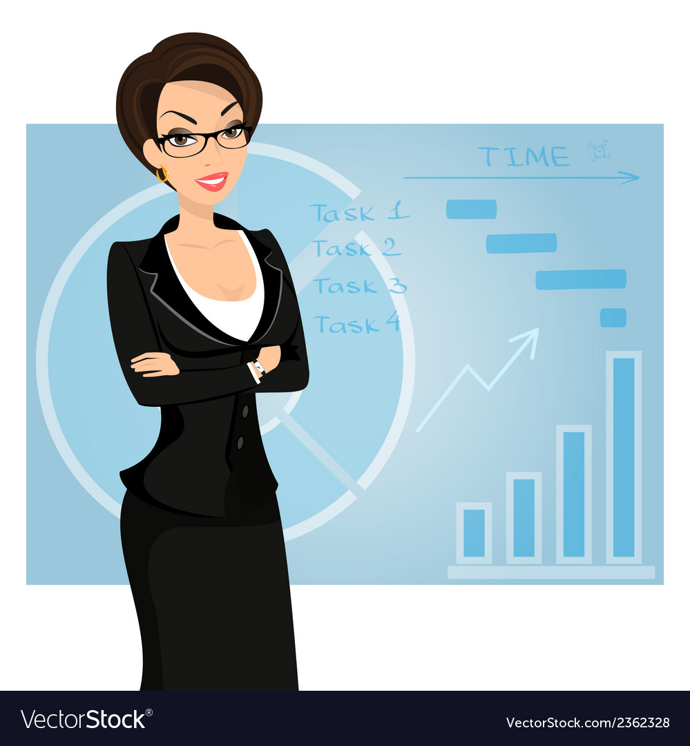 Business woman is wearing black suit on blue vector | Price: 1 Credit (USD $1)
