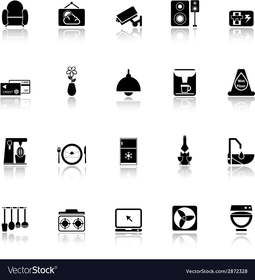 Cafe and restaurant icons with reflect on white vector | Price: 1 Credit (USD $1)