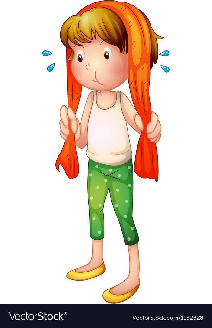 Cartoon sweaty girl vector | Price: 1 Credit (USD $1)