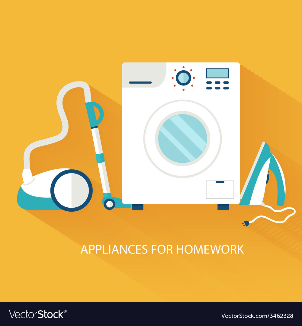 Flat household appliances background concept vector | Price: 1 Credit (USD $1)