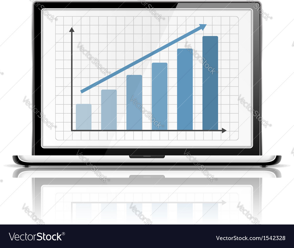 Graph in laptop vector | Price: 1 Credit (USD $1)