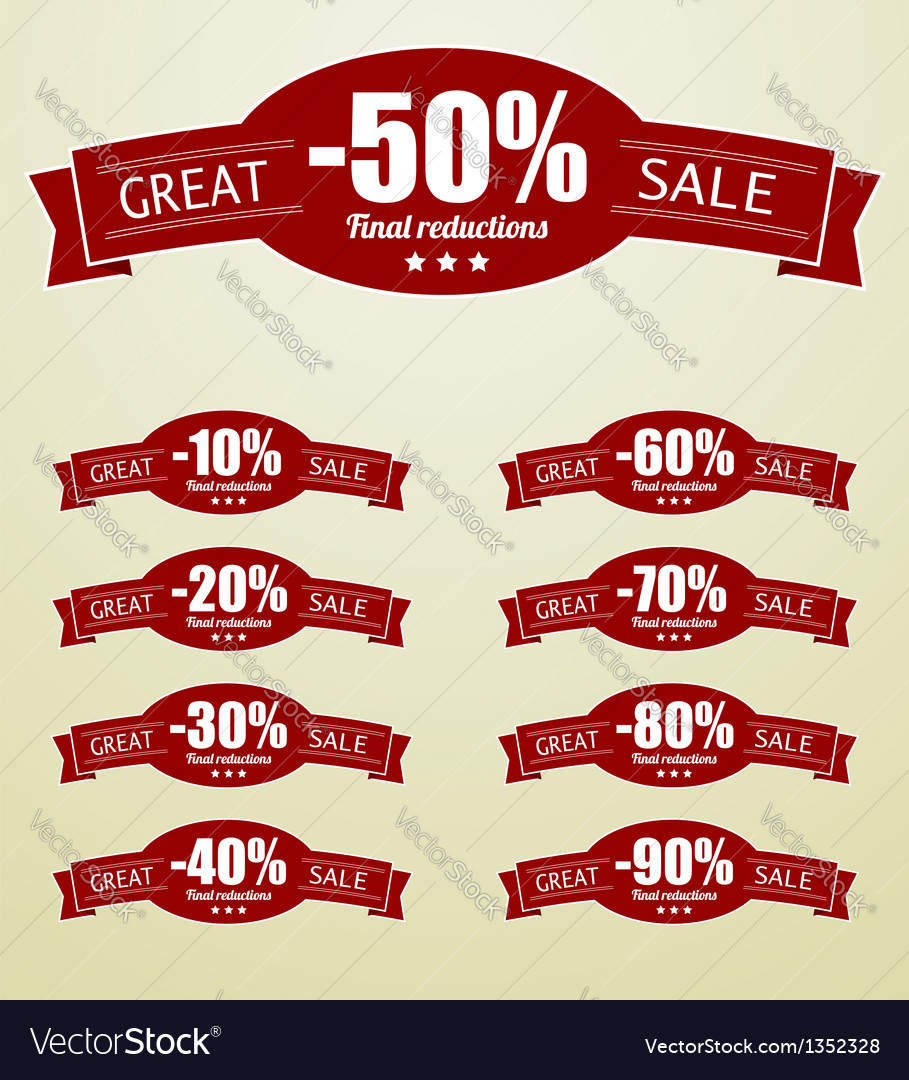 Great sale tags with 10 - 90 percent text vector | Price: 1 Credit (USD $1)
