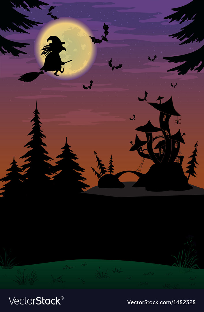 Halloween landscape with witch vector | Price: 1 Credit (USD $1)