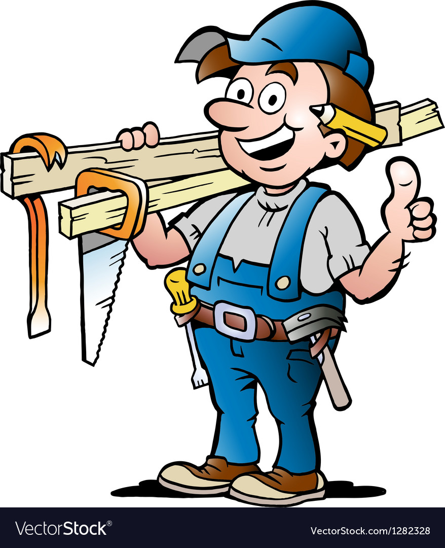 Happy carpenter handyman vector | Price: 3 Credit (USD $3)