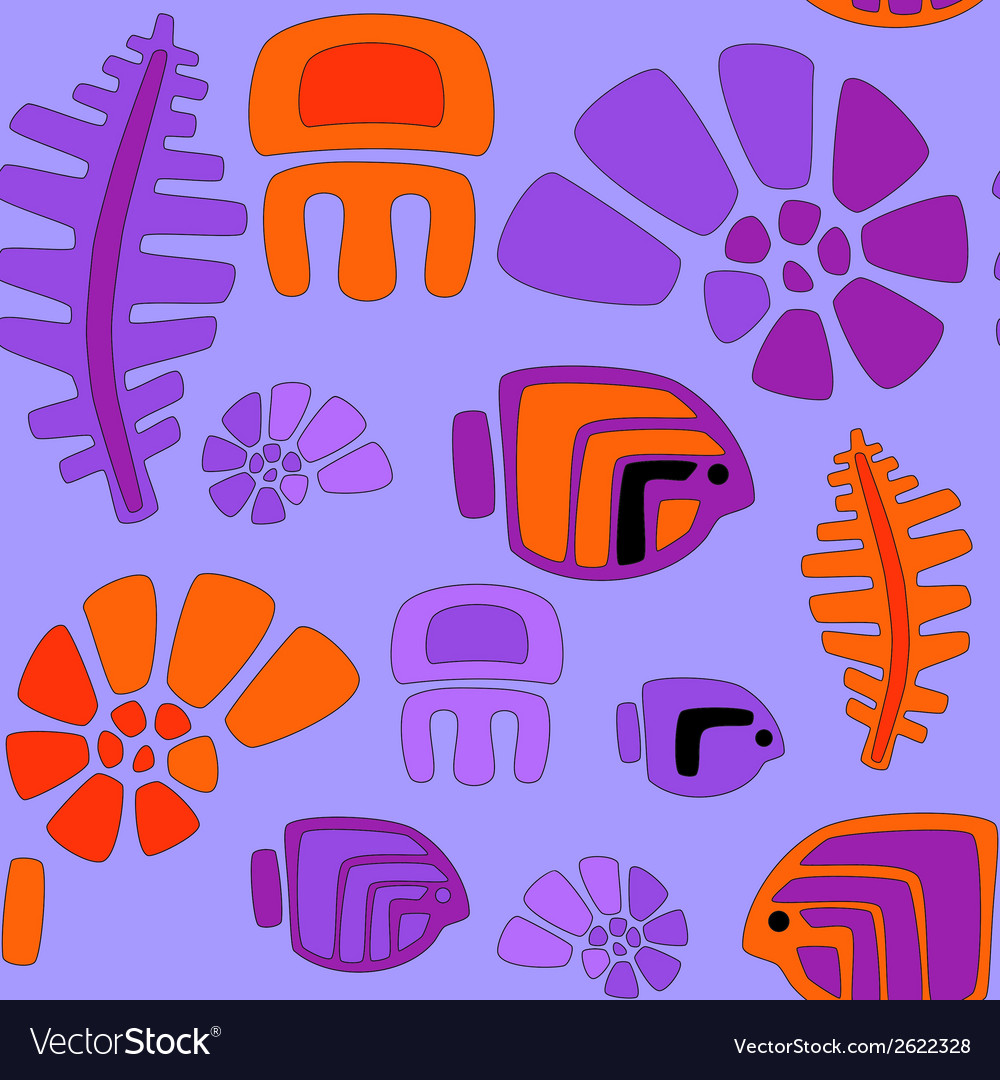 Seamless stylized tribal pattern with aquatic anim vector | Price: 1 Credit (USD $1)