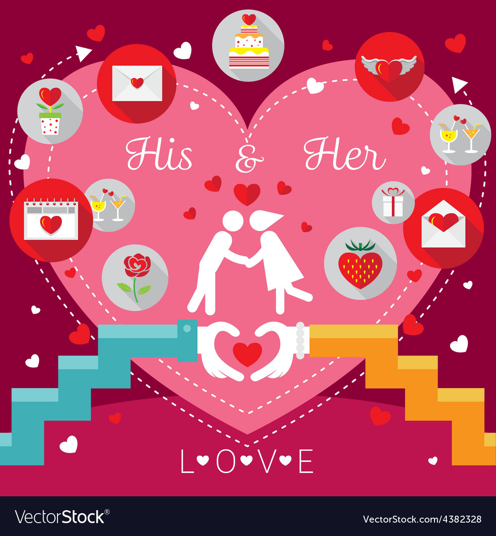 Wedding frames with hands love concept and icons vector | Price: 1 Credit (USD $1)