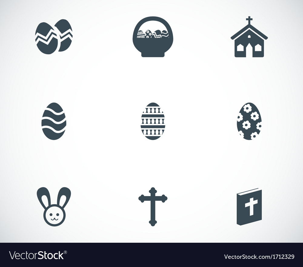 Black easter icons set vector   Price: 1 Credit (USD $1)