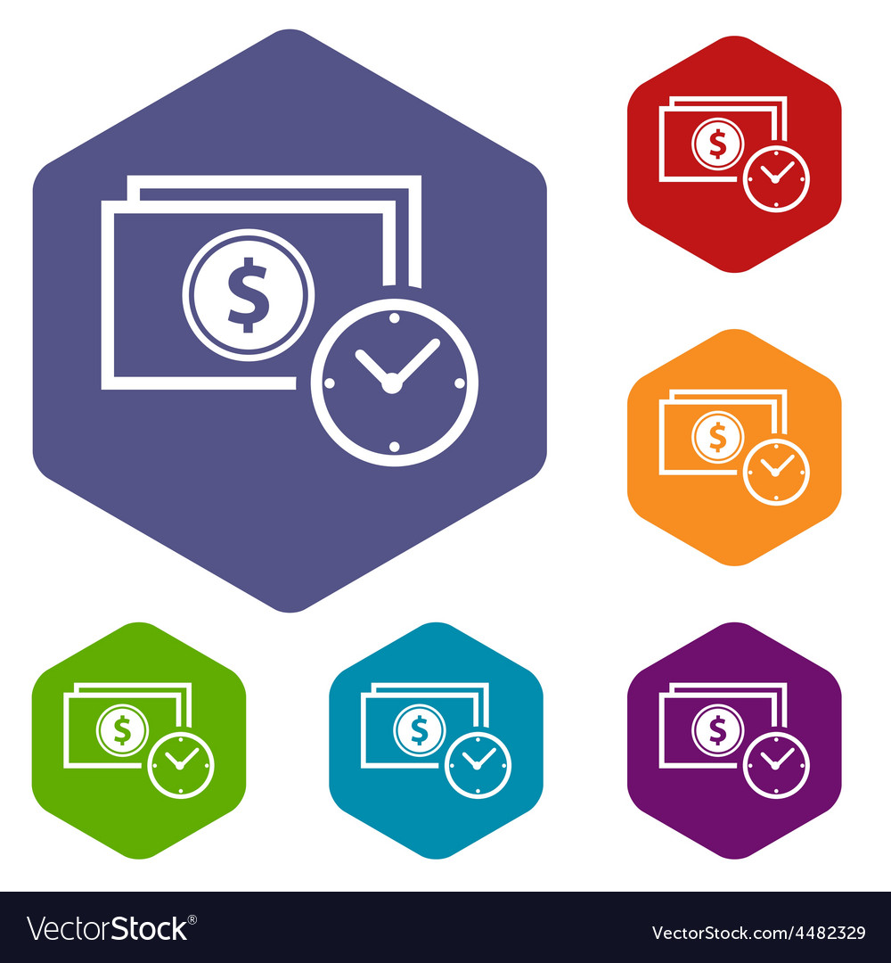 Buck time rhombus icons vector | Price: 1 Credit (USD $1)