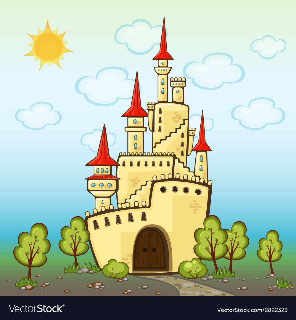 Castle in cartoon style vector | Price: 1 Credit (USD $1)